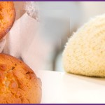 green apple muffins, younf girl with healtthy muffin